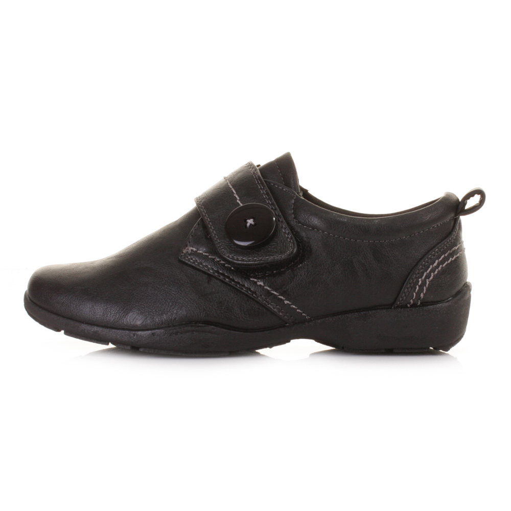 Ladies Flat Leather Style Comfortable Comfy Black Work ...