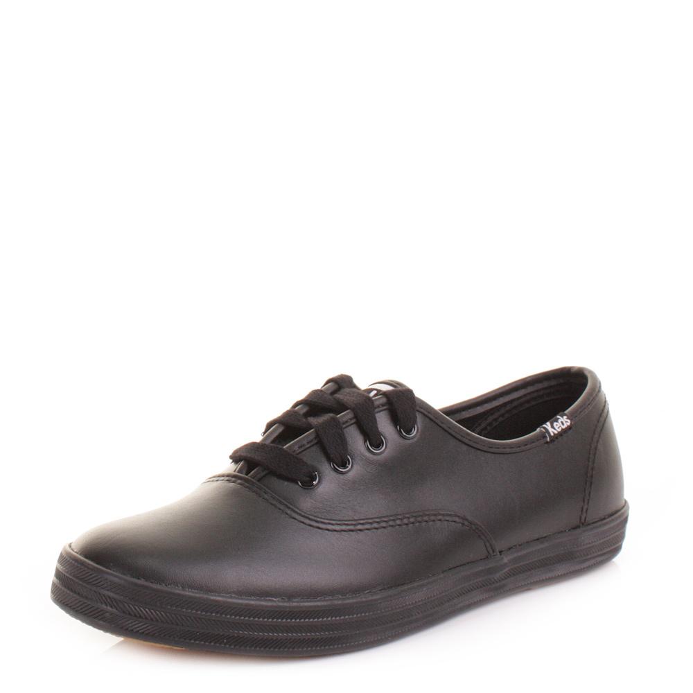 f859e11d6885c Womens Keds Champion Black Leather Lace Up Shoes Trainers Plimsolls Size 3-8