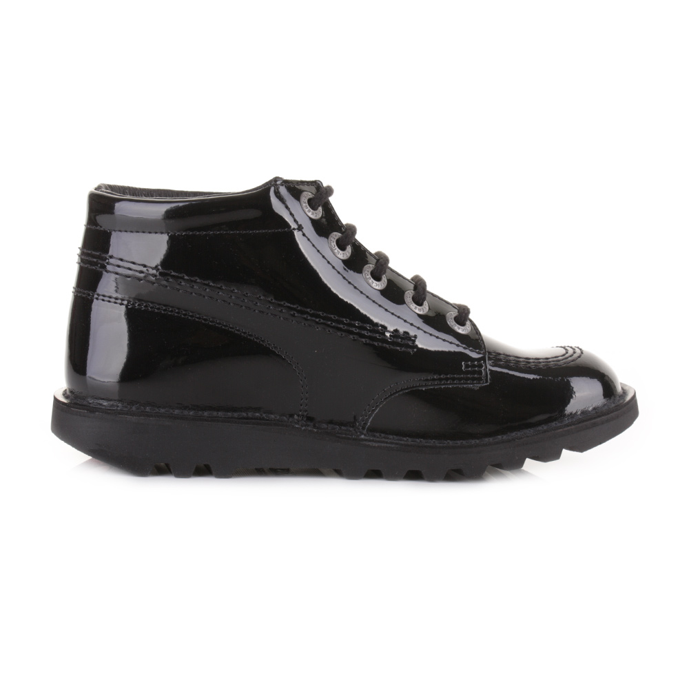 Youth Girls Kickers Kick Hi Black Patent Leather Ankle Boots School Shoe  Size ea62fd553c3e