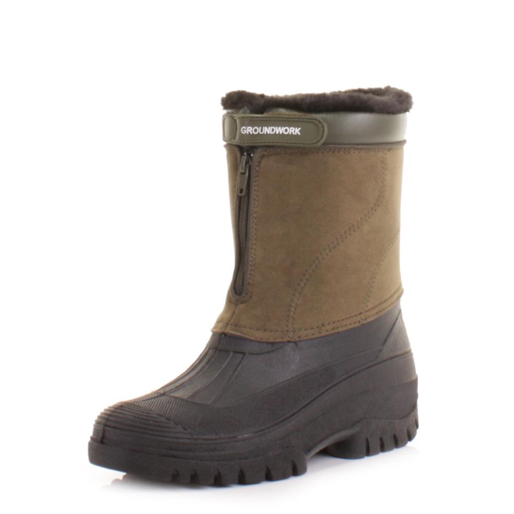 Mens Khaki Mucker Warm Winter Waterproof Yard Work Garden Wellies Boot Size  612  eBay