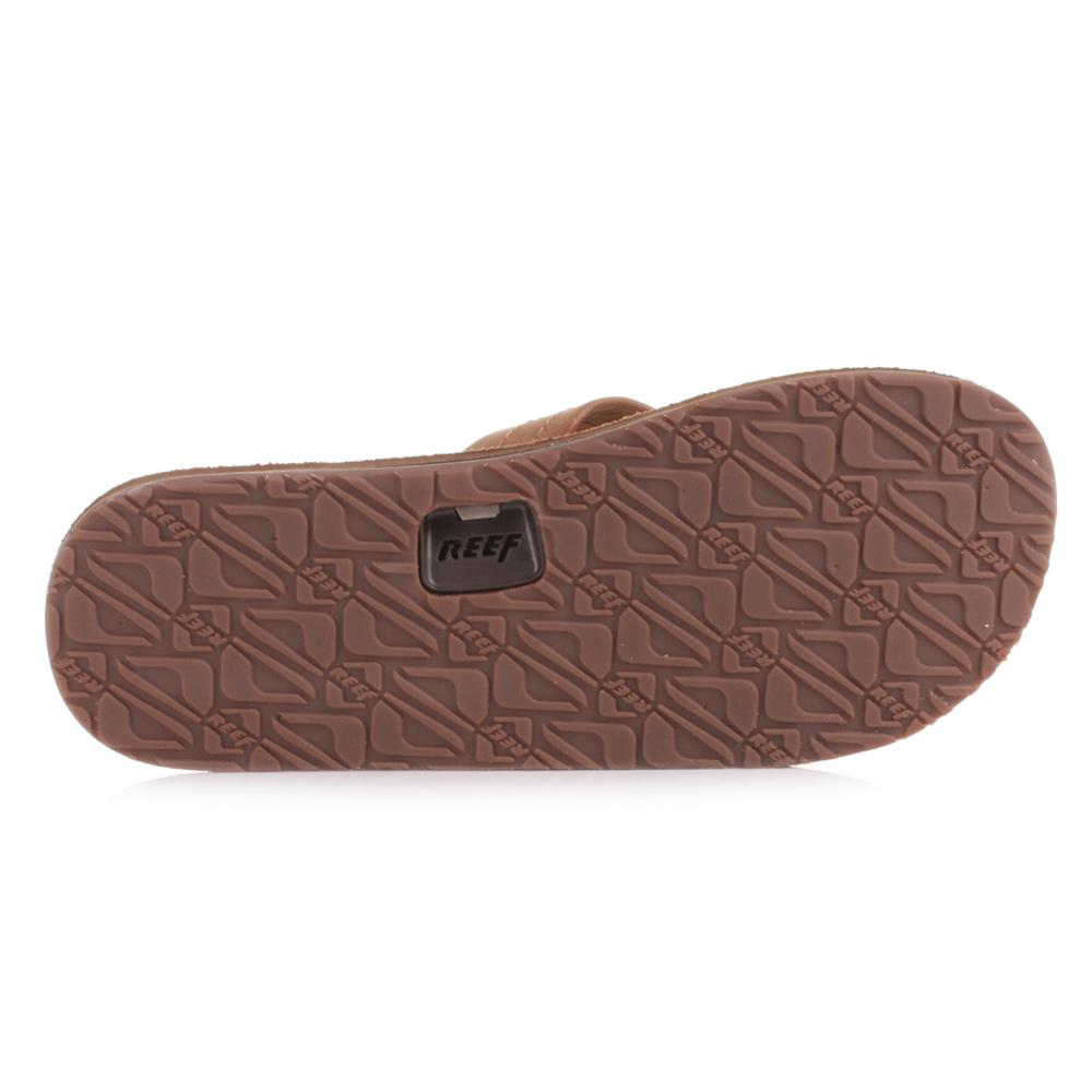 70d5452bd86 Mens Reef Draftsmen Bronze Brown Leather Toe Post Flip Flops Sandals Size 6- 12