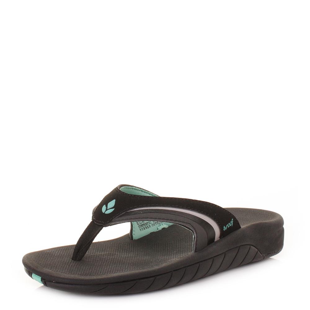 c730f508f Womens Girls Reef Slap 3 Black Black Aqua Flip Flops Sandals Size 3 ...