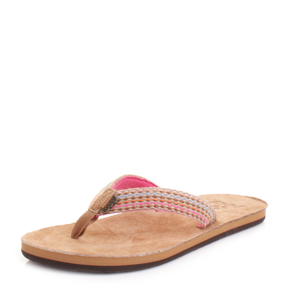 3650eaf62cef Details about Womens Reef Gypsylove Pink Woven Suede Flip Flops Sandals  Size 3-8