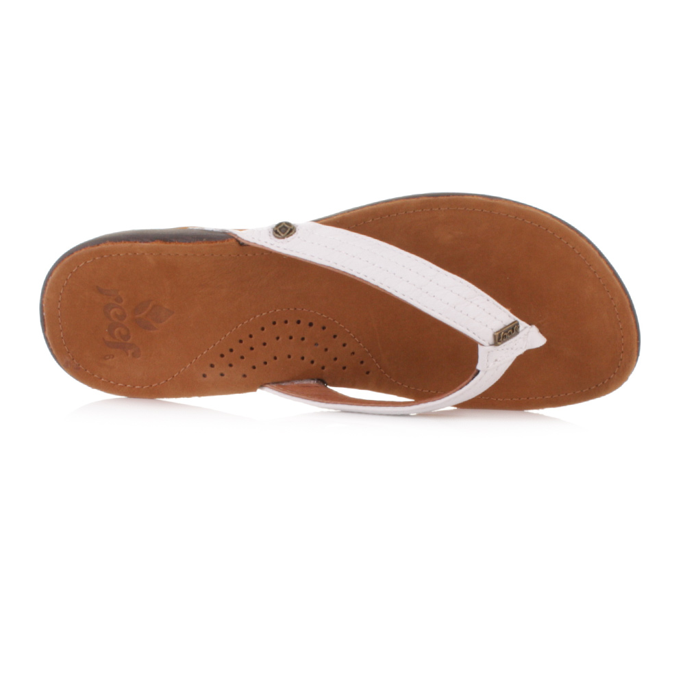 8edfa68e7 WOMENS REEF MISS J-BAY TAN WHITE LEATHER FLIP FLOPS TOE POST SANDALS UK SIZE