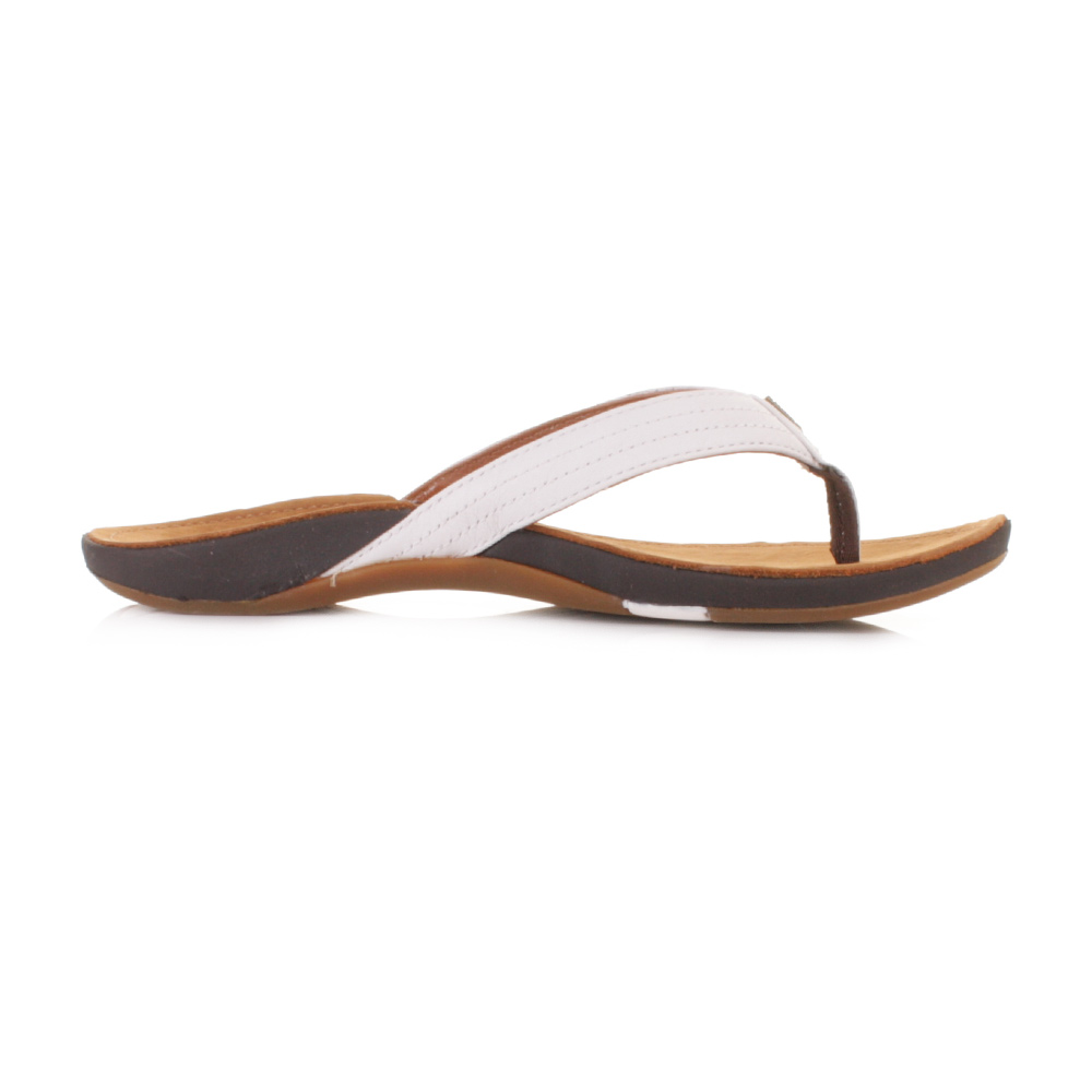 c684ff15d Womens Reef Miss J-Bay Tan White Leather Flip Flops Toe Post Sandals Size 3- 8