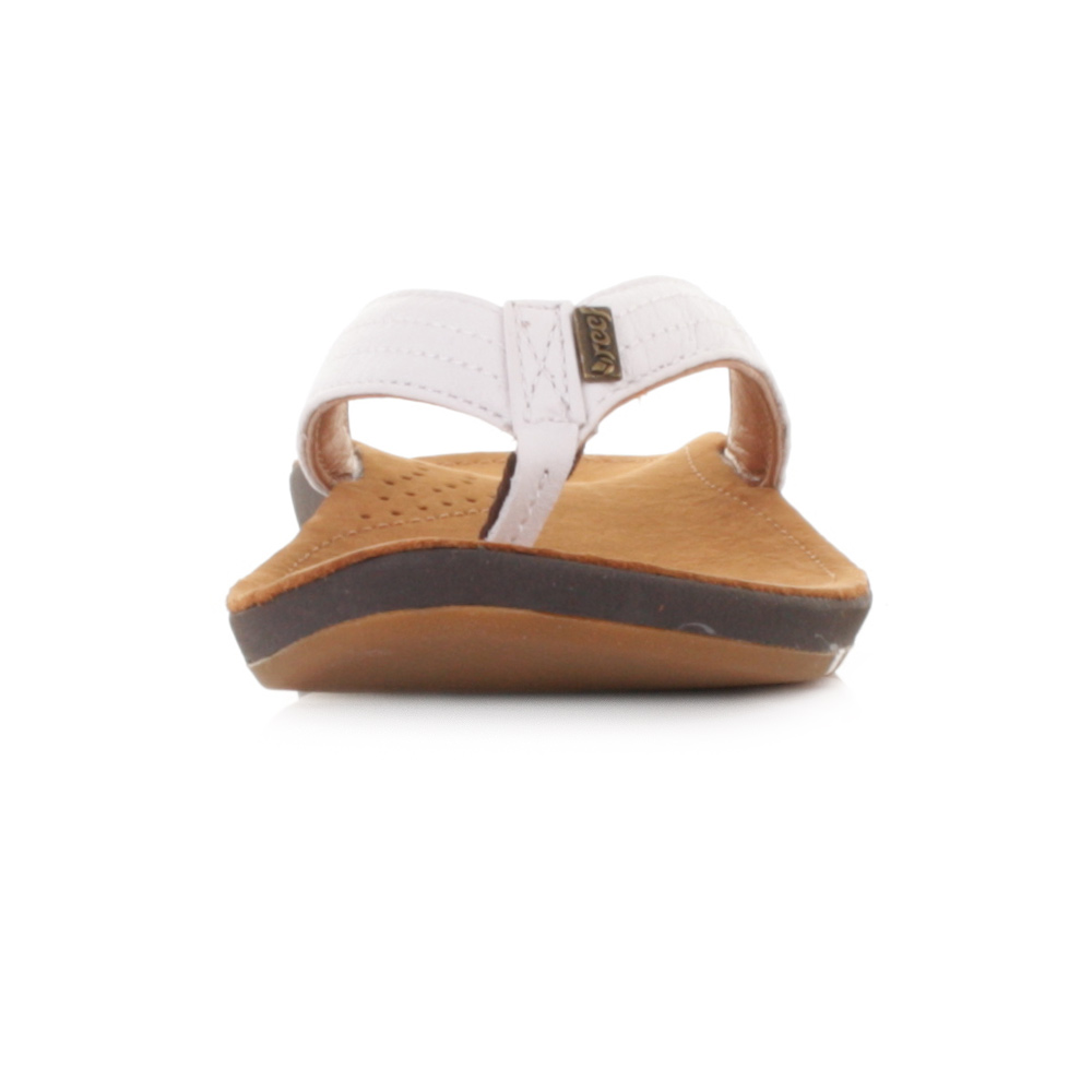 e6d2651ce ... Tan White Leather Flip Flops Toe Post Sandals Size 3-8. Reef Miss J-Bay  sandals are made from full gradi padded leather straps