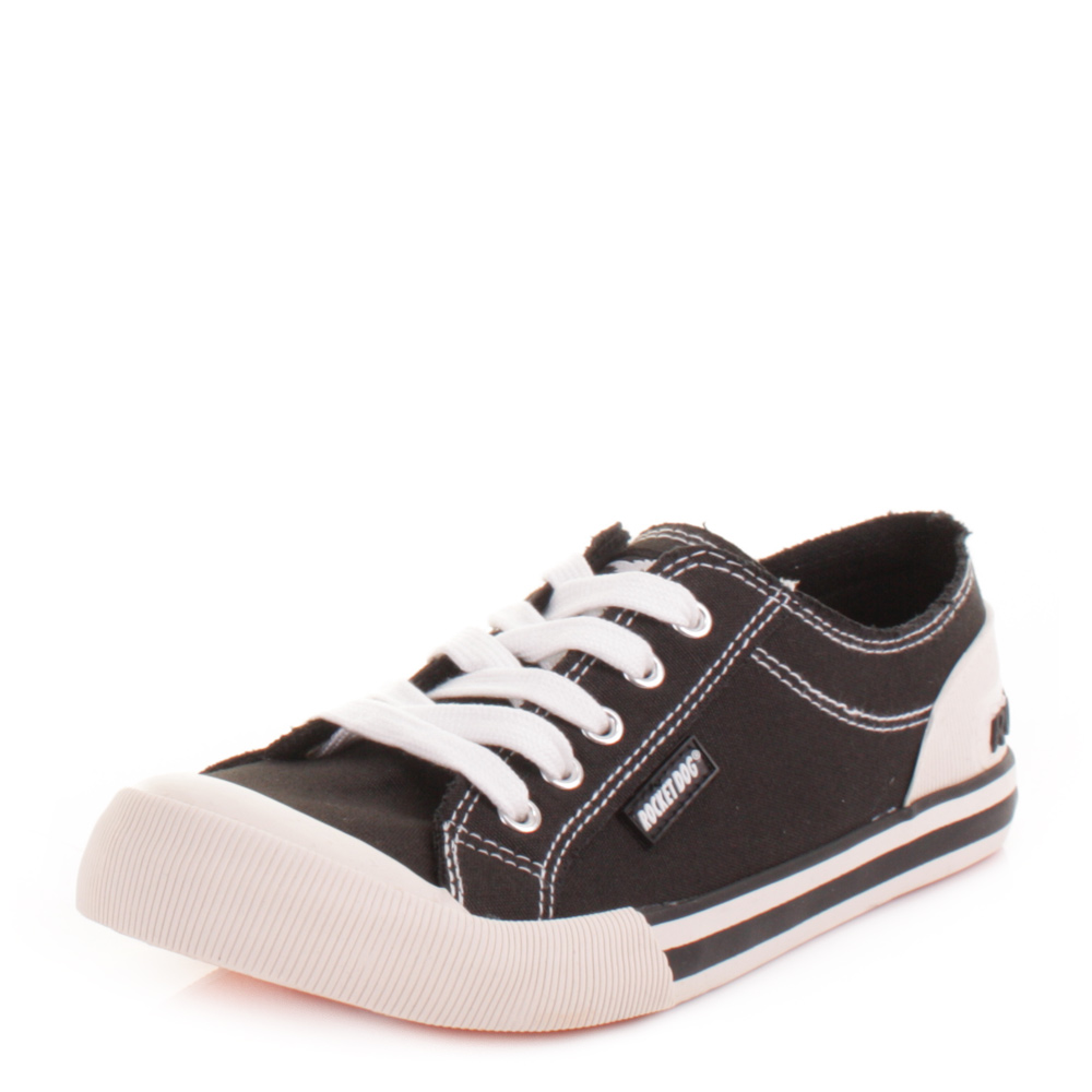Womens Rocket Dog Jazzin Black Canvas Flat Casual Lace Up Trainers Size 3-8