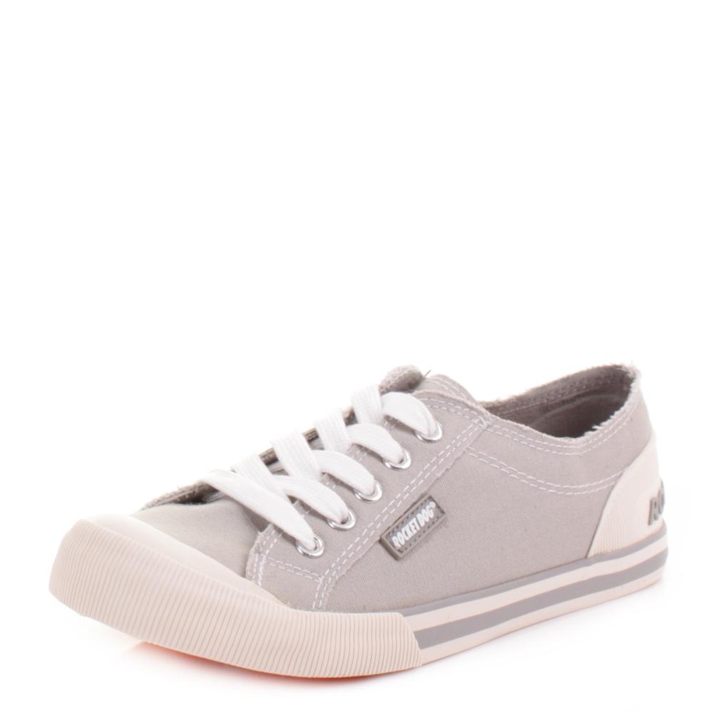 Womens Rocket Dog Jazzin Canvas Light Grey Flat Lace Up Trainers Shoes Size  3-8 | eBay