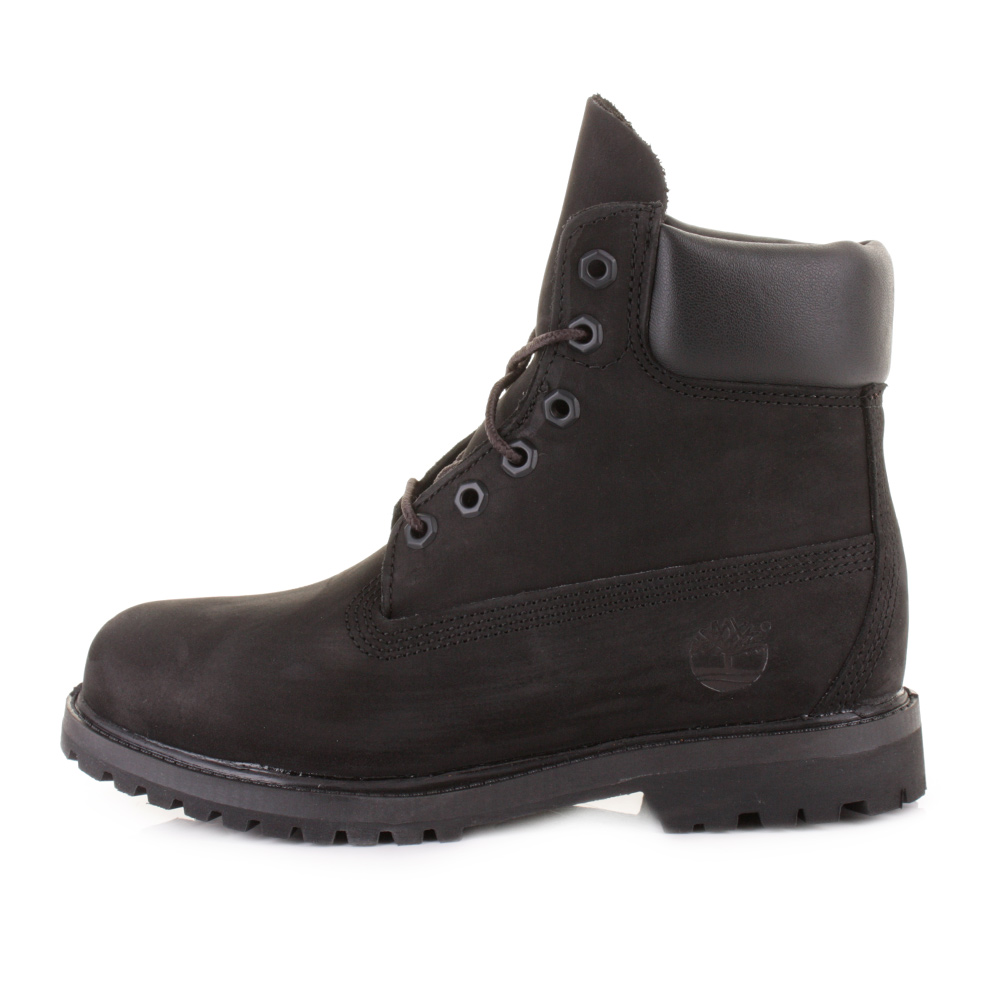 Womens Timberland Black 6 Inch Premium Waterproof Lace Up Nubuck ... 615b9bf65