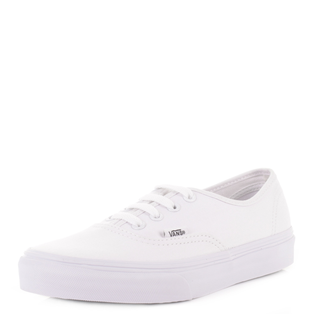2e1cd6653d Details about Mens Vans Authentic True White Lace Up Canvas Trainers Shoes  Plimsolls Uk Size