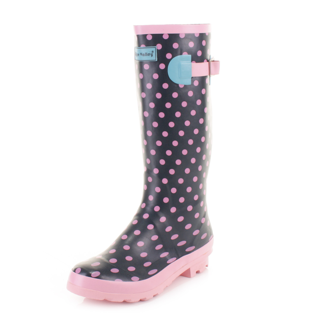 Womens Polka Dot Wyre Valley Ladies Wellies Wellington Festival Boots Size 3-8