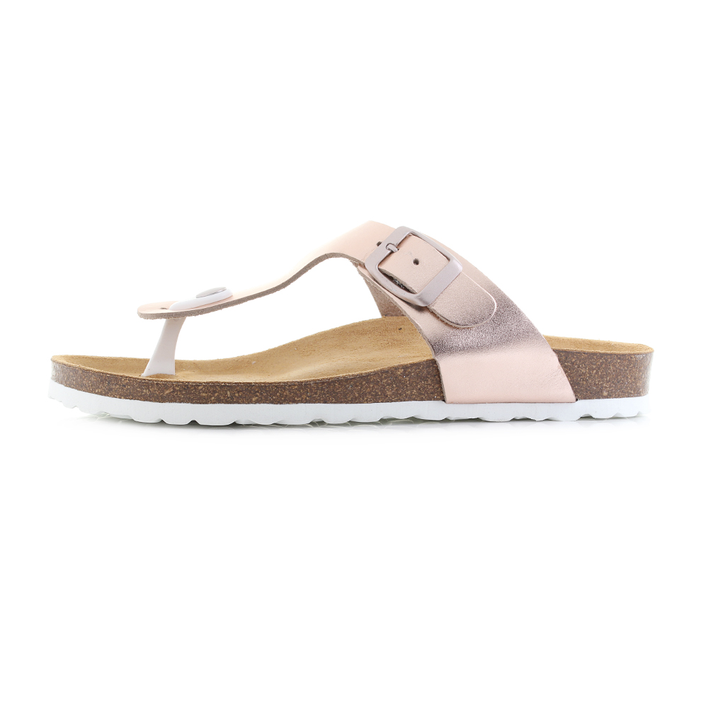 Womens-Oak-and-Hyde-San-Sebastian-Rose-Gold-Toe-Post-Leather-Sandals-Shu-Size