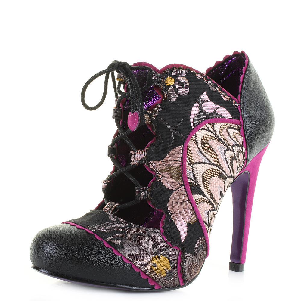 Womens Poetic Licence Halston Black Pink Lace Up High Heel ...