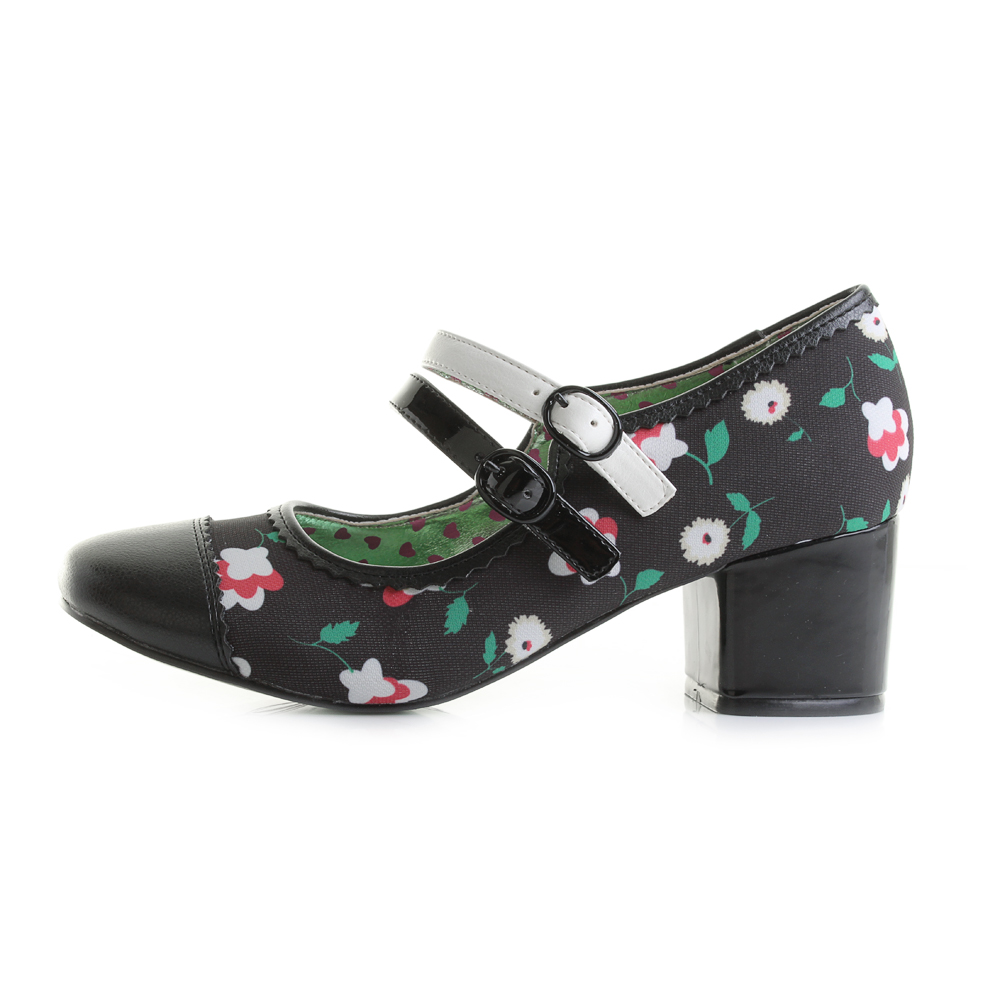 Womens-Poetic-Licence-Mini-Mod-Black-Floral-Mary-Jane-Low-Heel-Shoes-Shu-Size thumbnail 3