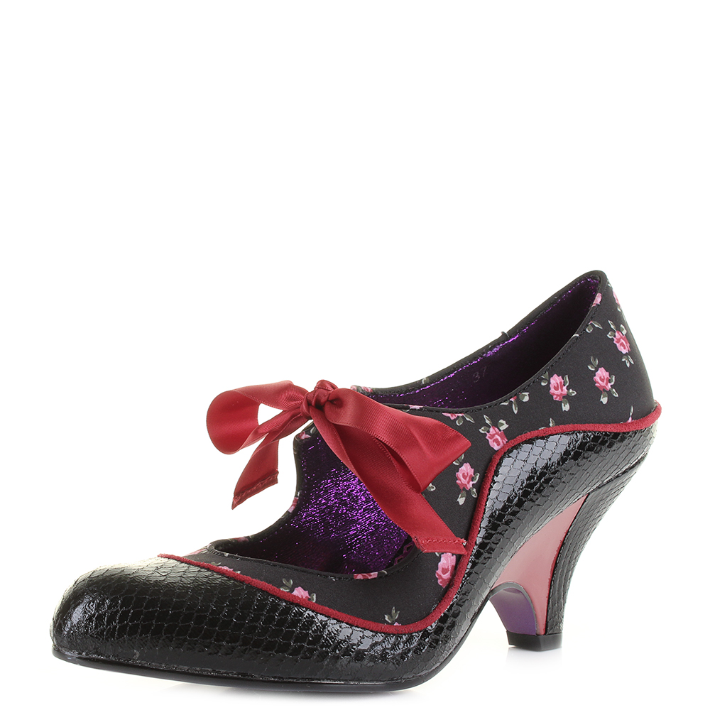 Womens Poetic Licence Schools Out Black Red Mid Heel Shoes UK Size ... b1cdfbbab