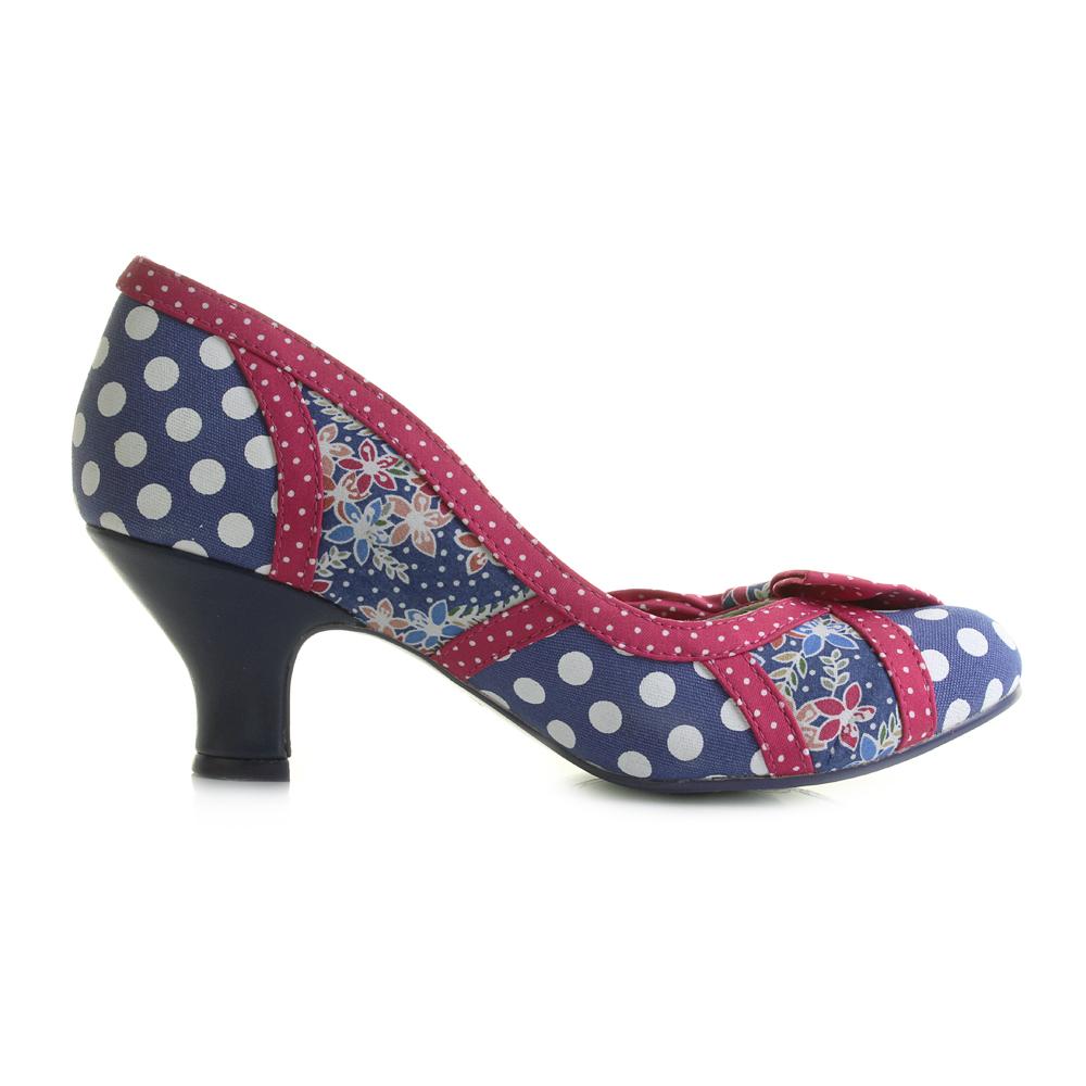 Womens Poetic Licence Shake It Blue Red Polka Dot Low Kitten Heel ...
