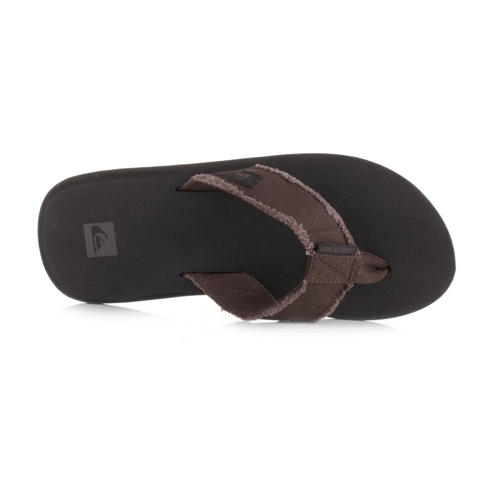 7898bc1a8b51 Mens Quiksilver Monkey Abyss Demitasse Solid Brown Surf Flip Flop Sandal  Size