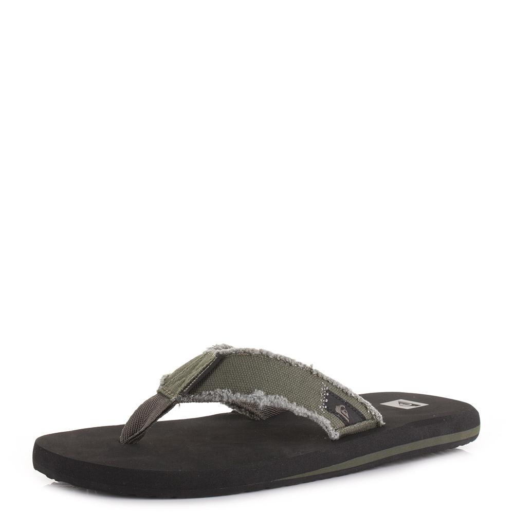 cfbd8ee52a60 Mens Quiksilver Monkey Abyss Gree Black Beach Toe Post Sandal Flip Flops  Size
