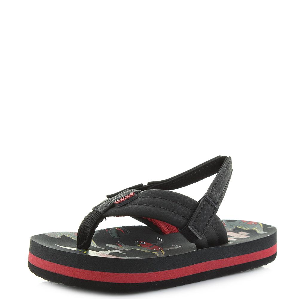 6982c2487b3f Details about Kids Reef AHI Red T-Rex Dinosaur Flip Flop Sandals with Back  Strap Shu Size
