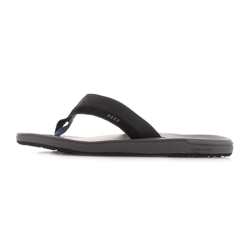 84435740d1e847 Mens Reef Contoured Cushion Grey Blue Comfort Flip Flop Sandals Size ...