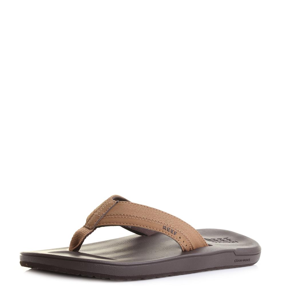 Details About Mens Reef Contoured Cushion Brown Comfort Flip Flops Sandals Size