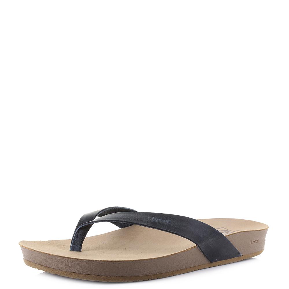 3c5e6d34f7d70d Womens Reef Cushion Bounce Court LE Black Leather Comfort Sandals Shu Size