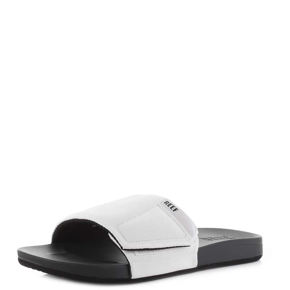 Details About Mens Reef Cushion Bounce Slide Grey White Comfort Slider Sandals Size