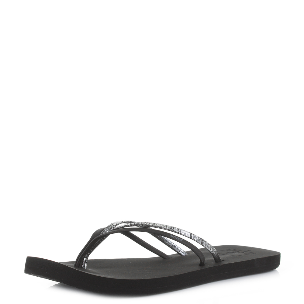e48365206fe8 Details about Womens Reef Double Bliss Black Slim Comfort Flip Flops Shu  Size