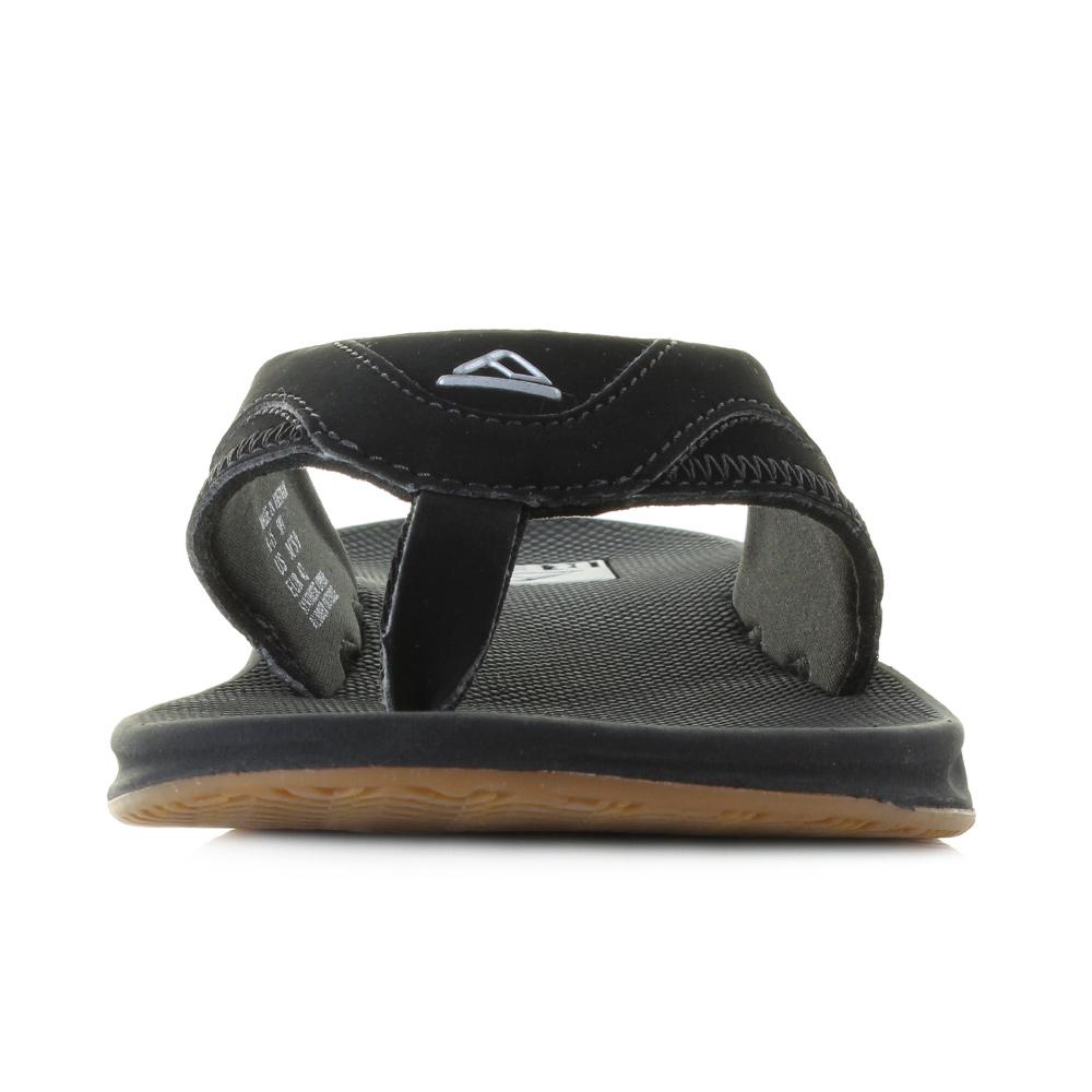 e3a32ffe9e1 Mens Reef Fanning Black Silver Surf Bottle Opener Flip Flops Sandals ...