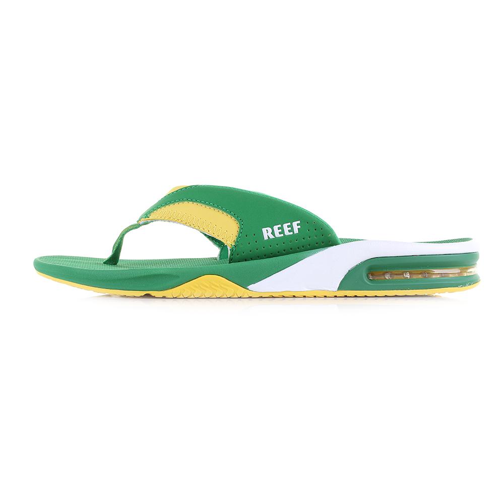 5b45416d4 Mens Reef Fanning Green Yellow Flip Flops Sandals Size