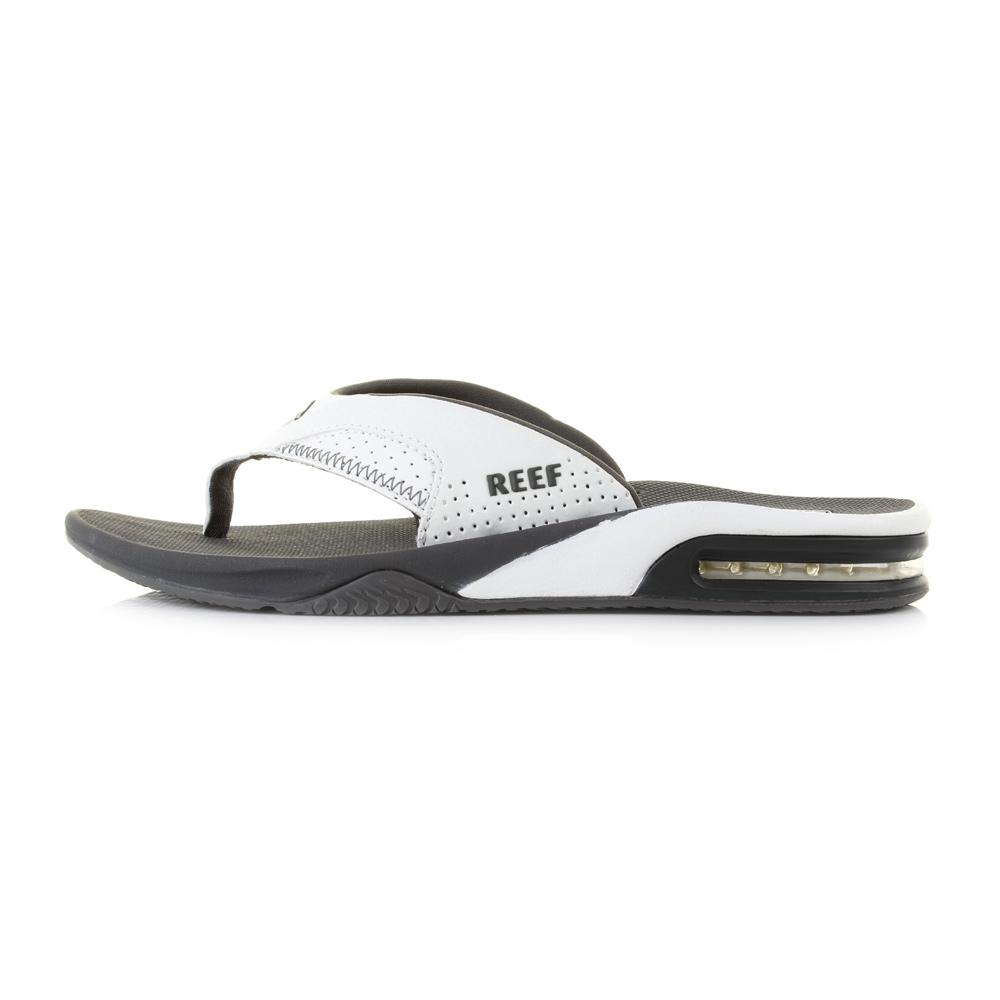 c329328cc3203 Mens Reef Fanning Grey White Toe Post Surf Beach Thong Flip Flops Sandal  Size