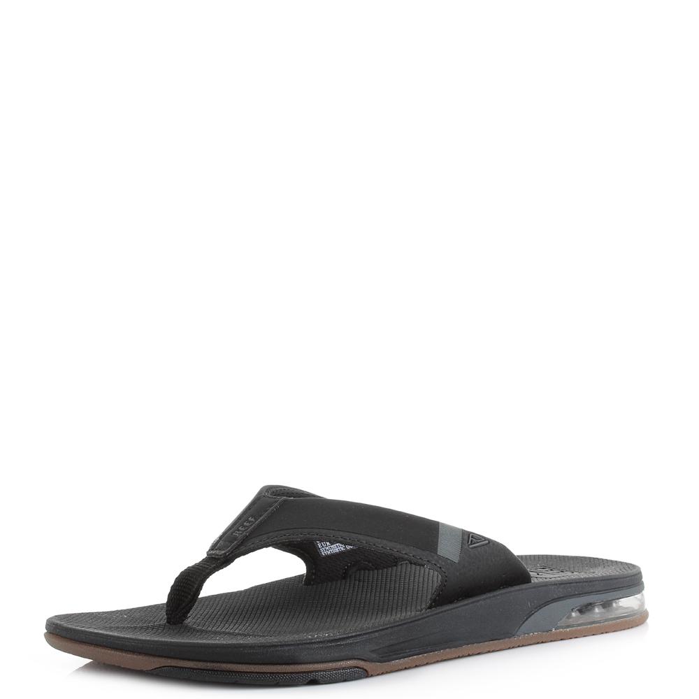 100% genuine new arrivals nice shoes Mens Reef Fanning Low Black Lightweight Comfort Beach Flip Flops ...