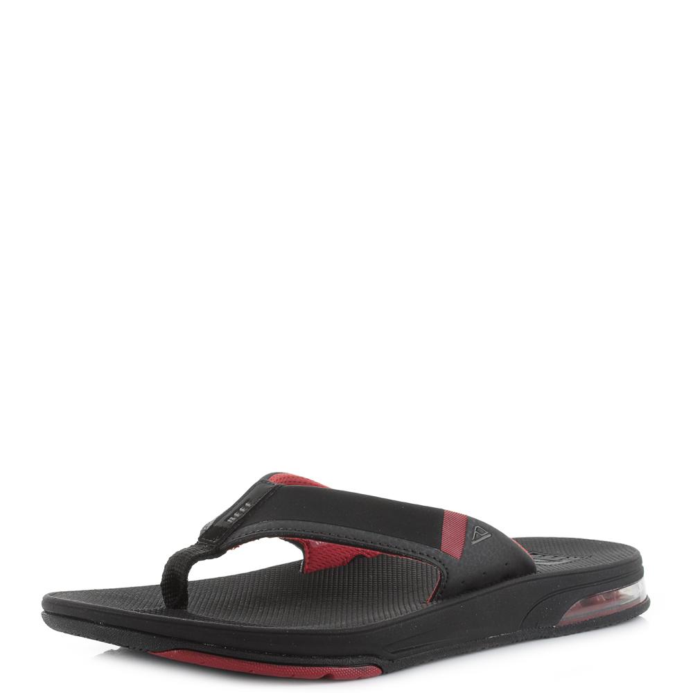 cfc170278d5 Mens Reef Fanning Low Black Red Toe Post Flip Flop Sandals UK Size ...