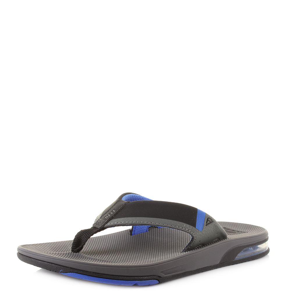 Mens Fanning Low Grey/Blue Flip Flops Reef 2sSuK