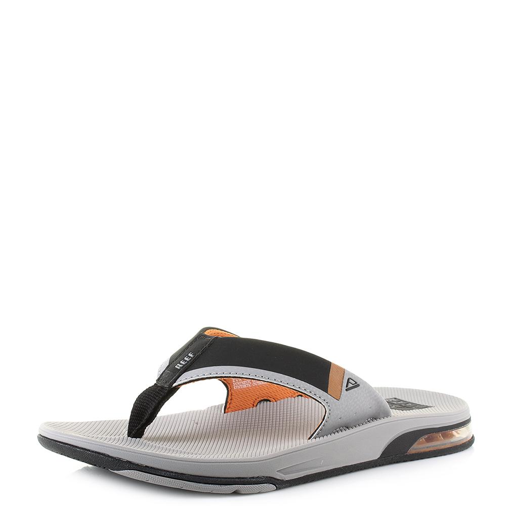 d45392dba6a Details about Mens Reef Fanning Low Grey Orange Sports Toe Post Flip Flops  Size