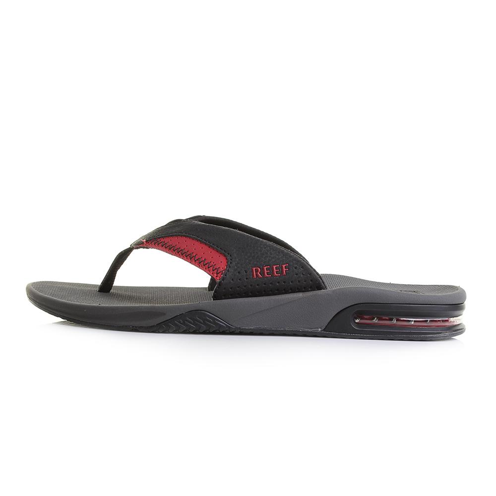 84ea840cb4d8 Mens Reef Fanning Grey Black Red Toe Post Sandals Flip Flops Size