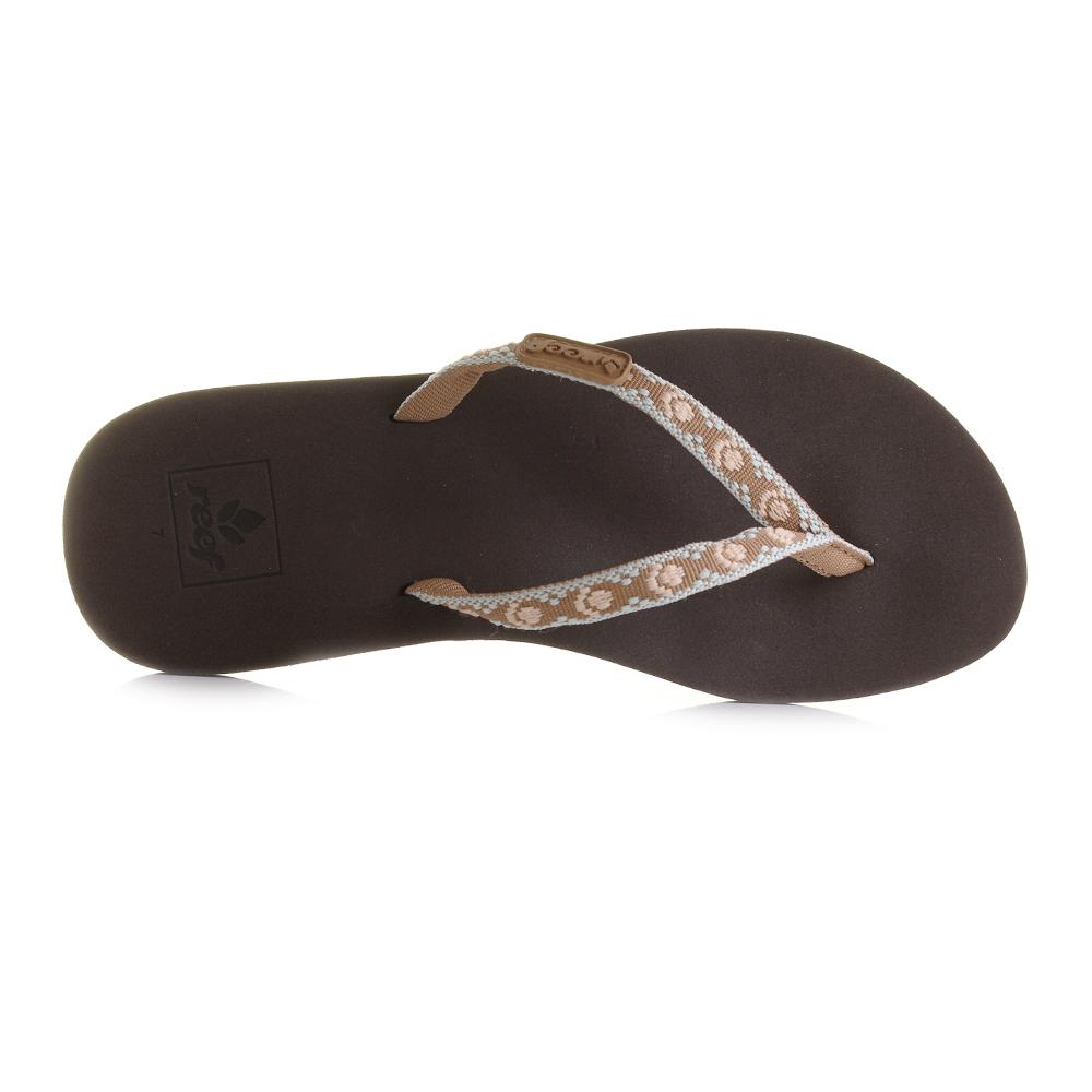 2a881dfdf434 Womens Reef Ginger Brown Peach Toe Post Flip Flops Shu Size