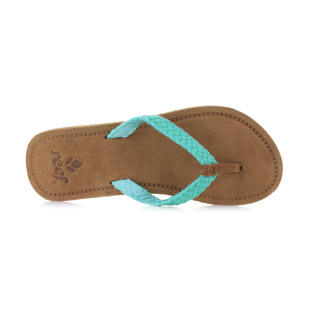 9f7a79dcb713 Womens Reef Gypsy Macrame Brown Turquoise Leather Flip Flop Sandals Uk Size
