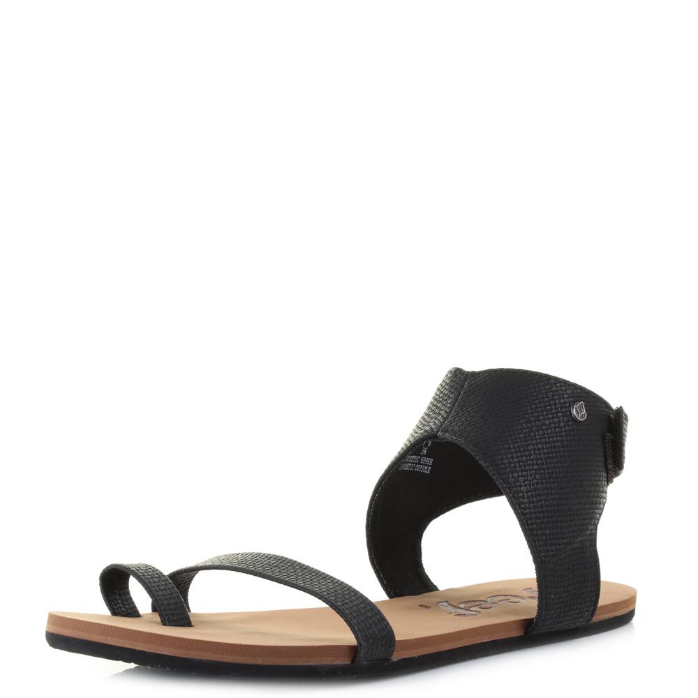 3e6b72a43015 Womens Ladies Reef Hampton Black Fashion Ankle Strap Flat Summer Sandals  Size
