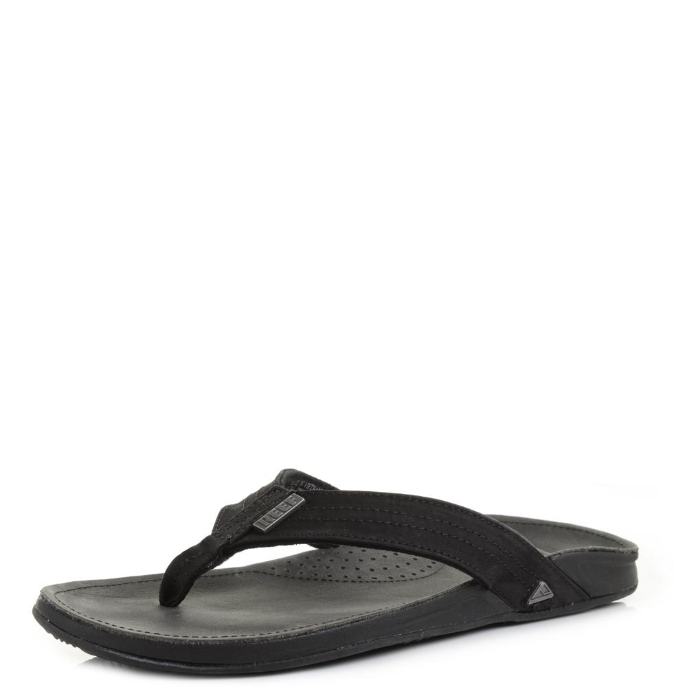 d41560c2e577b Mens Reef J-Bay 3 Black Leather Toe Post Flip Flops Sandals Size