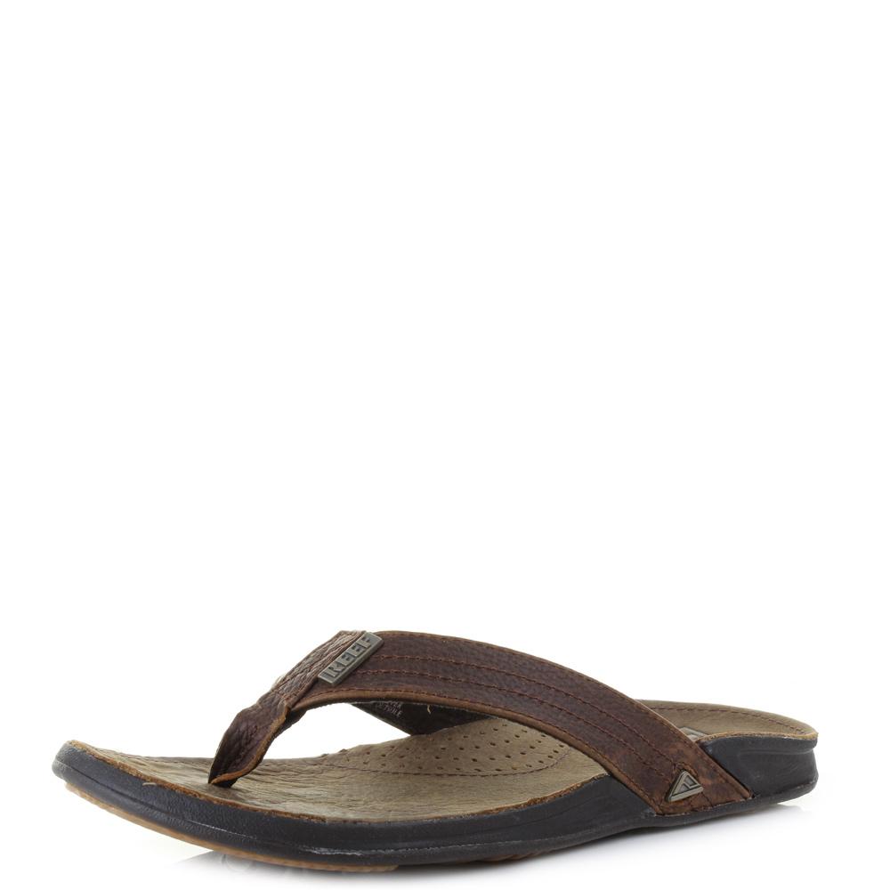e8dad2b25 Details about Mens Reef J-Bay 3 Camel Premium Leather Quality Flip Flops  Sandals Size