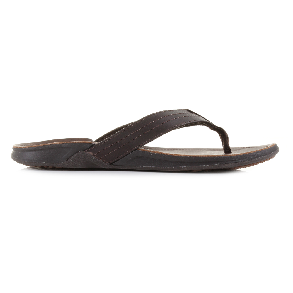 d6a5fb284984 Mens Reef J-Bay 3 Dark Brown Leather Toe Post Sandals Size