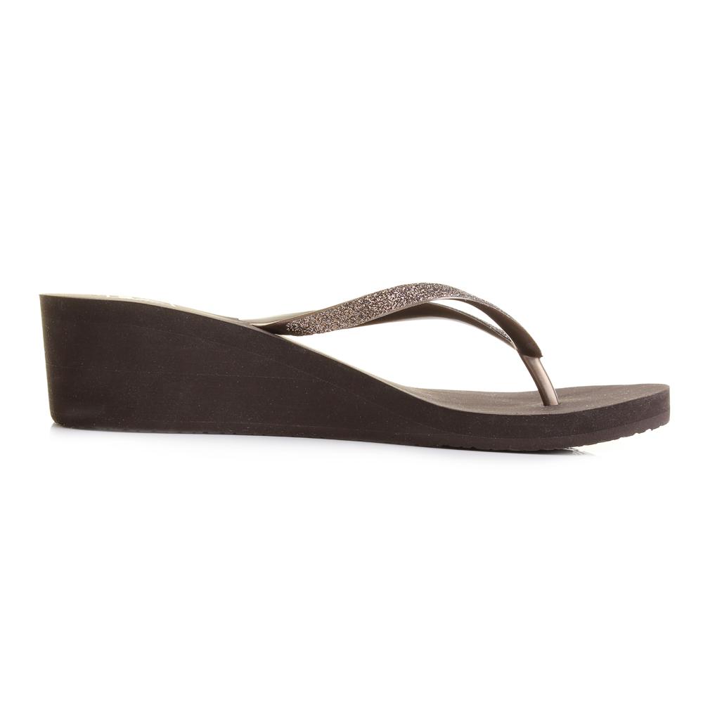32382abeb96 Womens Reef Krystal Star Bronze Wedge Sandal Flip Flops Sz Size