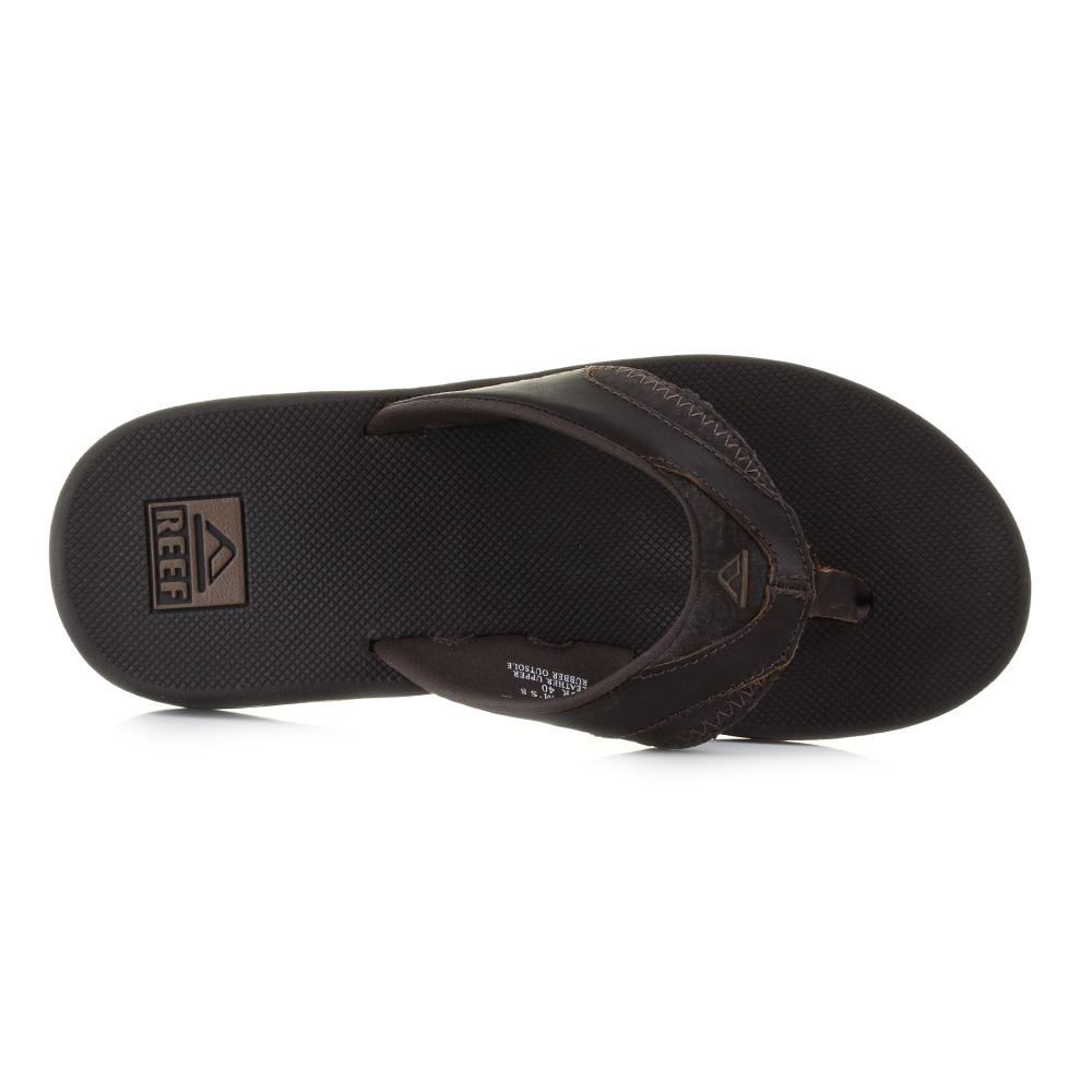 a9b436e7076 Mens Reef Leather Fanning Brown Surf Bottle Opener Flip Flops Sandals Size