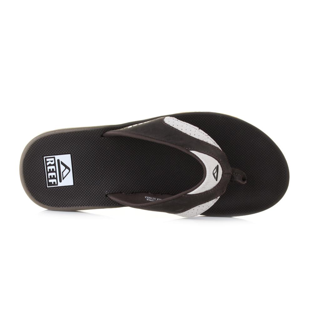 mens reef leather fanning white brown bottle opener sandals flip flops uk size ebay. Black Bedroom Furniture Sets. Home Design Ideas