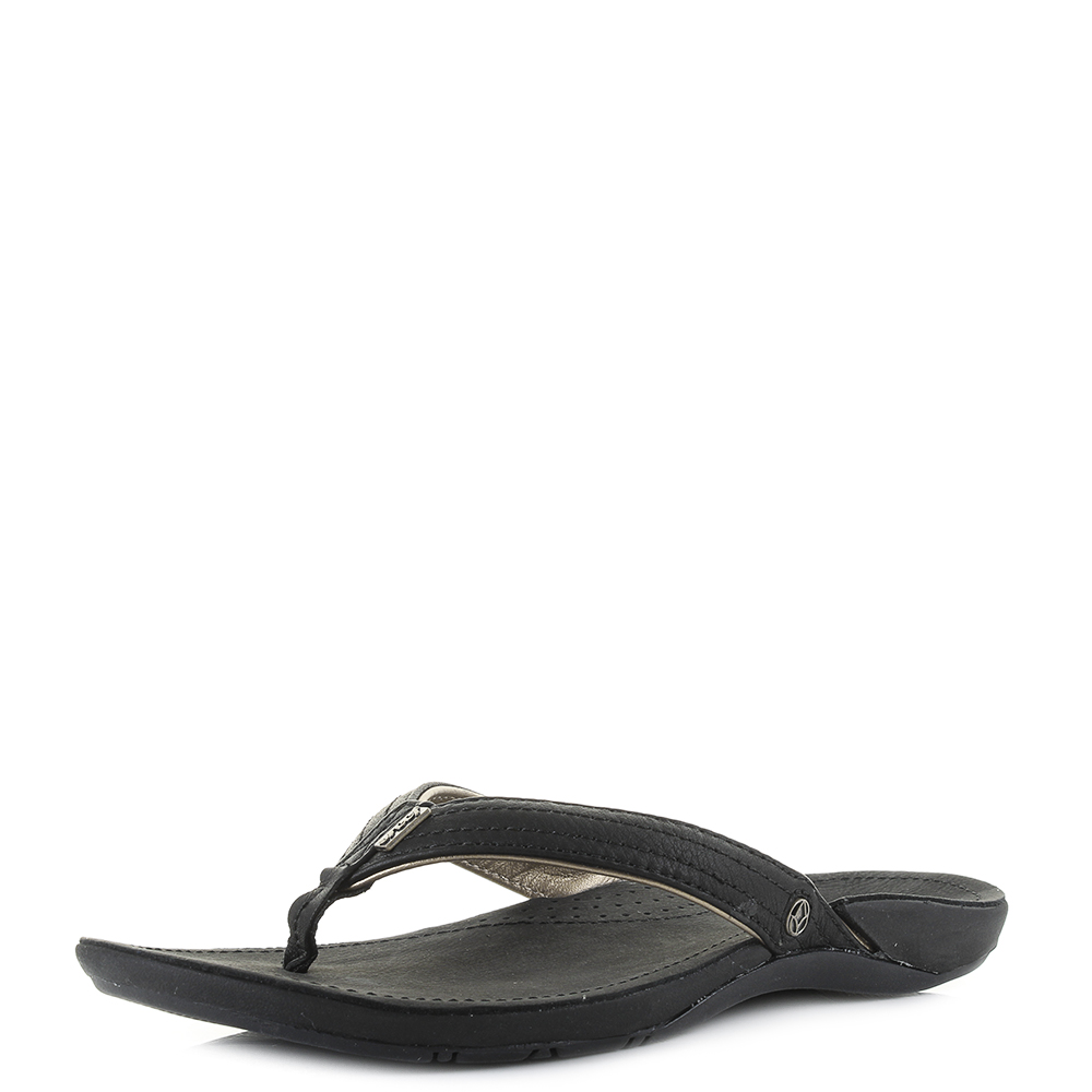 b510efb6f7cf9 Womens Reef Miss J-Bay 3 Black Gold Leather Toe Post Sandals Shu Size