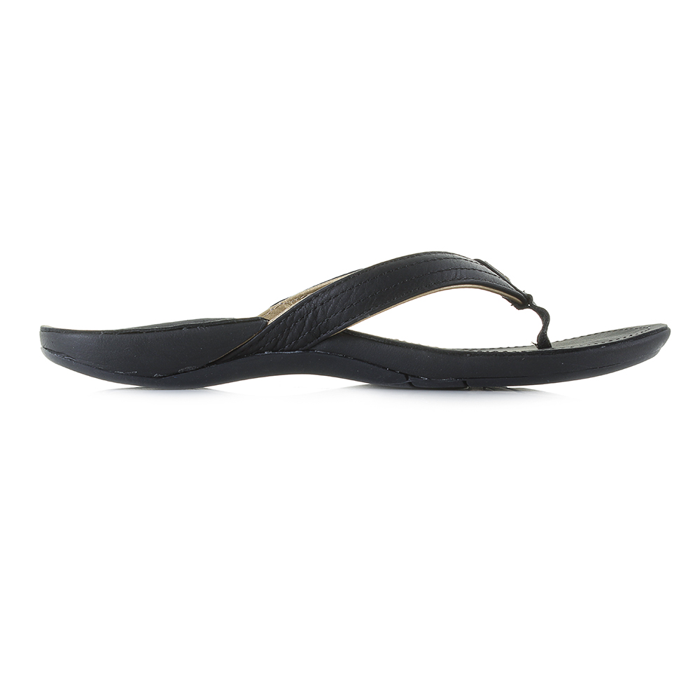 ccba8c7b11a88 Womens Reef Miss J-Bay 3 Black Gold Leather Toe Post Sandals Shu ...