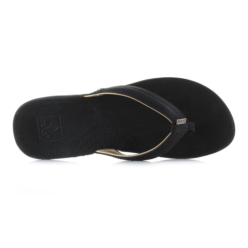 Womens Reef Miss Miss Miss J-Bay 3 Black gold Leather Toe Post Sandals Shu Size 185531