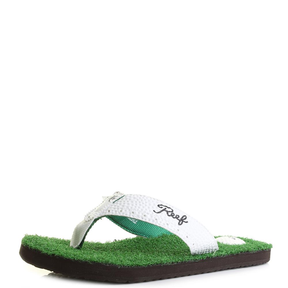 3d84ed59fc01 Details about Mens Reef Mulligan 2 Green Golf Inspired Flip Flops Shu Size