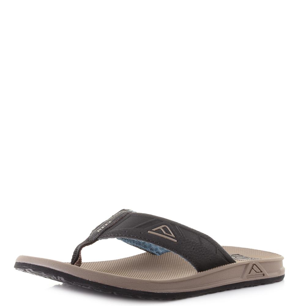 57a24db2fec4 Mens Reef Phantoms Brown Black Blue Lightweight Toe Post Flip Flops Shu Size